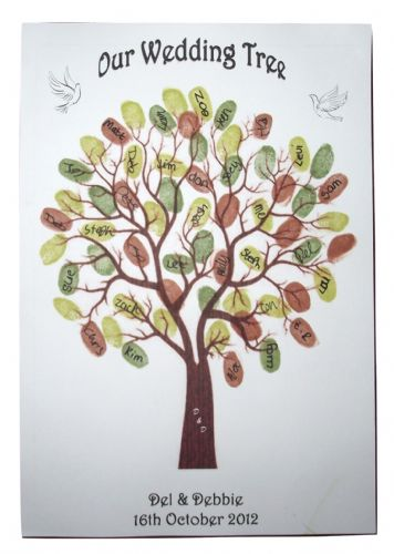Wedding Thumbprint Guest Book Tree Personalised  Guest Book with a difference - Doves